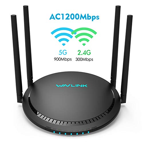 AC1200 WiFi Router 5GHz Dual Band Gigabit Wireless Router,Touchlink and Beamforming Wireless Internet Router for Home,4x5dBi High-Gain Antennas Provide More Reliable Wi-Fi Connections and Wi-Fi Speeds