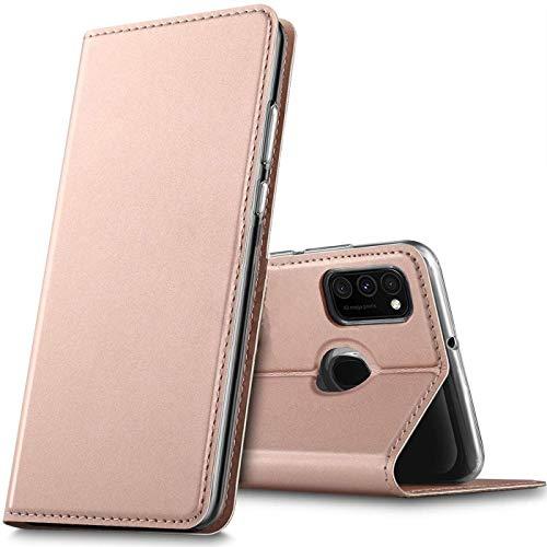 Verco Handyhülle für Samsung Galaxy M30s, Galaxy M21 Hülle Premium Handy Flip Cover für Galaxy M30s Hülle [integr. Magnet] Book Hülle PU Leder Tasche, Rosegold