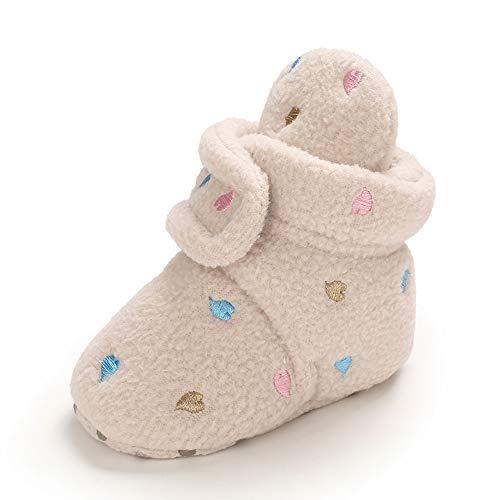 MASOCIO Botas Bebe Niño Niña Invierno Botines Botitas Bebé Recién Nacido Zapatillas Casa Calentar Zapatos Primeros Pasos Talla 20 Beige 12-18 Meses