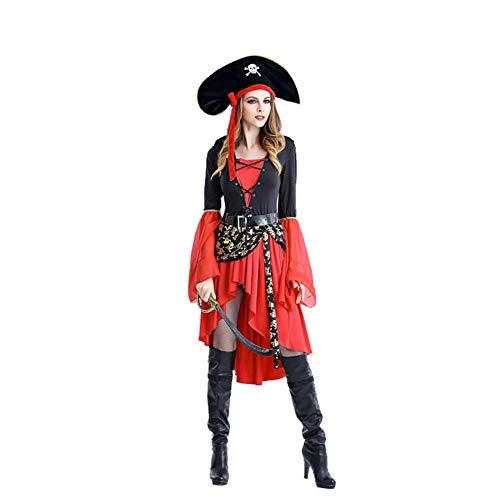 hhalibaba Disfraz de Pirata de Mujer para Fiesta de Halloween Fantasas Femeninas Vestidos Sexy Sombrero de Esqueleto Capitn Disfraz Juego de Roles Ropa de Juego