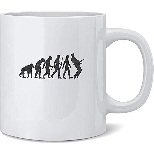 Keramische mok Gitaar Evolutie Geschiedenis Muziek Caveman Grappige 330Ml Koffie Mok Plezier Keramische Novelty Tea Cup Nieuwigheid Gift