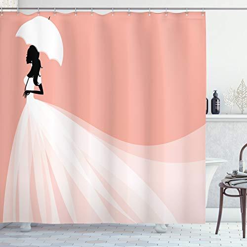 ABAKUHAUS Lachs Duschvorhang, Hochzeit Regenschirm, mit 12 Ringe Set Wasserdicht Stielvoll Modern Farbfest & Schimmel Resistent, 175x180 cm, Lachs & Weiß