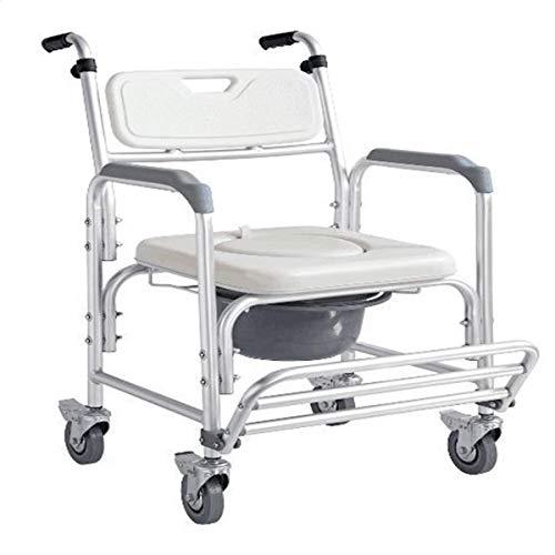 Stuhl mit Rädern Toilettenstuhl und gepolstertes WC Sitz Dusche Transport Stuhl Dusche Rollstuhl Bad WC, B