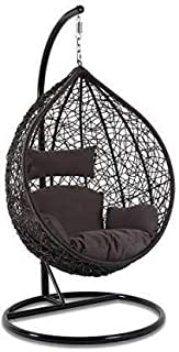 DMosaic Hanging Swing Chair with Cushion & Hook/Color Black for 1 Outdoor/Indoor/Balcony/Garden/Patio
