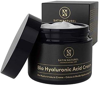 Crema Facial de Acido Hialuronico Puro ORGÁNICA 50 ml - Vegano de Alta Calidad - Crema Antiarrugas para Mujer con Aloe Vera y Vitamina E - Usar con un Serum Facial - Cremas Faciales