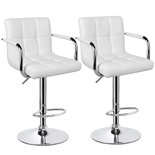 YAHEETECH Tall Bar Stools Set of 2 Modern Square PU Leather Adjustable BarStools Counter Height Stools with Arms and Back Bar Chairs 360