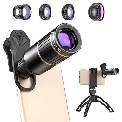 Powcan Conjunto de Lentes 6 en 1 cámara del teléfono, Gran Angular + Lente Macro + Lente Ojo de pez + Lente teleobjetivo con Zoom 16X + CPL + Filtro de Estrella para iPhone Samsung con trípode