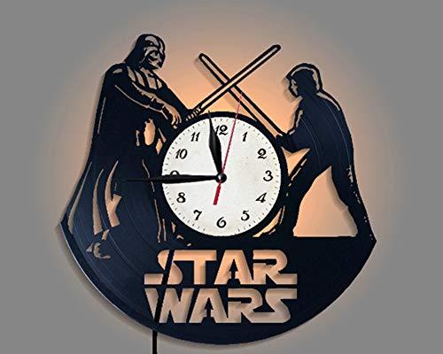 LittleNUM Disco de Vinilo Reloj de Pared Creativo Reloj de Pared de decoración del hogar Star Wars Reloj de Pared del LED con Control Remoto inalámbrico Reloj de Pared por Fans de Star Wars,Stylea