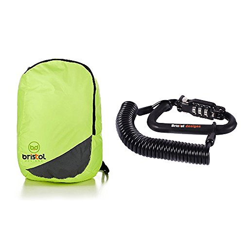 Bristol Designs Travel Combo Set With Heavy Duty PIN Combination Lock Cable & Reflective Foldable...