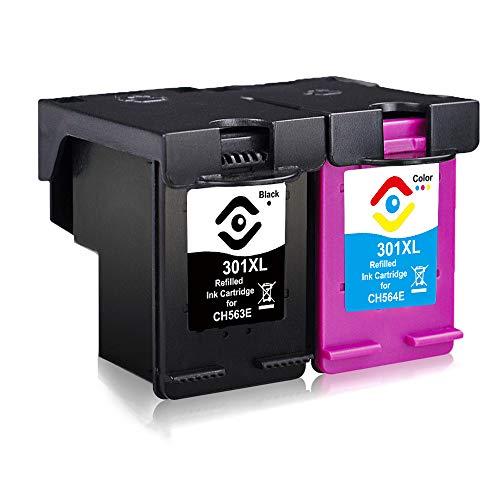 Facink Cartuchos de tinta 301 XL 301XL remanufacturados de alto rendimiento para HP Envy 4500 5530 4502 Deskjet 2540 1000 3050 3050a 1050 1050a 1510 Officejet 4630 2620