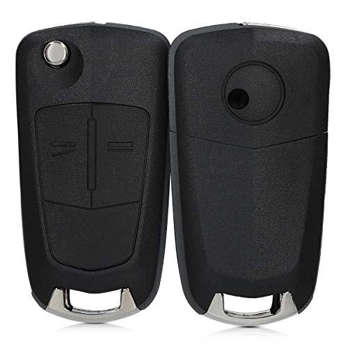 kwmobile Funda Llave Coche Compatible con Opel Vauxhall Llave de Coche Plegable de 2 Botones - Repuesto plástico Duro para Mando de Auto - Negro