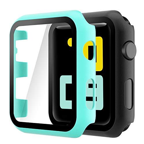 Hianjoo Cover [2-Pack] Compatibile per Apple Watch 38mm Pellicola Proteggi Schermo, Custodia con Vetro Temperato per Compatibile con Apple iWatch 38mm Series 3/2/1 - Turchese, Nero