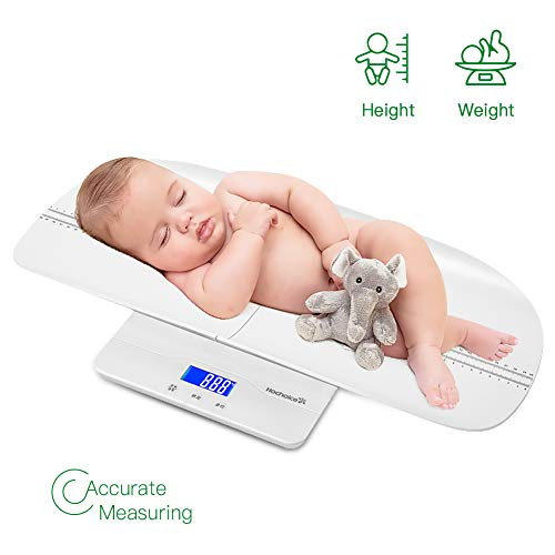 Hochoice Baby Scale Digital Pet Scale MultiFunction High Precision Electronic Scale Infant Scale with Hold Function 220 Pounds lbs Capacity Accurate to 10gHeight Measurement Range 4660cmWhite