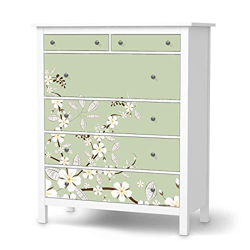 creatisto Möbeltattoo passend für IKEA Hemnes Kommode 6 Schubladen I Möbelaufkleber - Möbel-Folie Tattoo Sticker I Wohn Deko Ideen für Esszimmer, Wohnzimmer - Design: White Blossoms