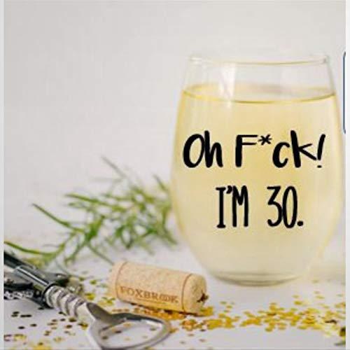 Oh F*ck I'm 30 Verre à vin sans pied en cristal gravé Verre à liqueur Parfait pour père, maman, garçon ou petite amie
