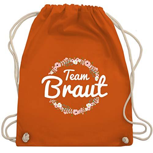 Shirtracer JGA Junggesellinnenabschied - Team Braut Blumenkranz - Unisize - Orange - team braut turnbeutel blumenkranz - WM110 - Turnbeutel und Stoffbeutel aus Baumwolle