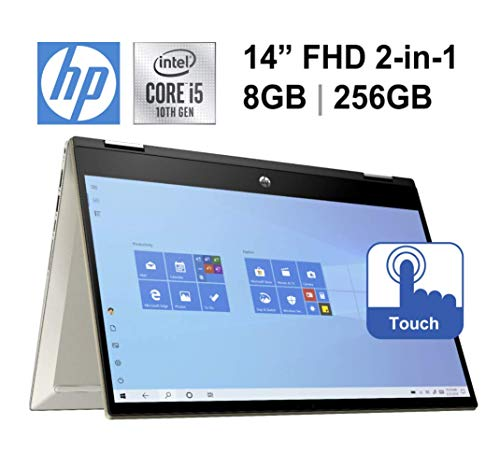 2020 Newest HP Pavilion x360 14' FHD Touchscreen 2-in-1 Convertible Laptop, Intel Core i5-1035G1 up to 3.6GHz, 8GB DDR4, 256GB SSD, 802.11ac, Webcam, Oydisen HDMI, Fingerprint Reader, Windows 10 Home