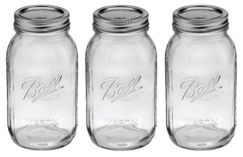Ball Regular Mouth 32-Ounces Quart Mason Jars with Lids and Bands, Set of 3