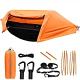 TianYaOutDoor Camping Hammock with Mosquito Net and Rainfly Lightweight Portable Sleeping Hammock Tent Backpacker Travel Outdoor Gear (Orange)