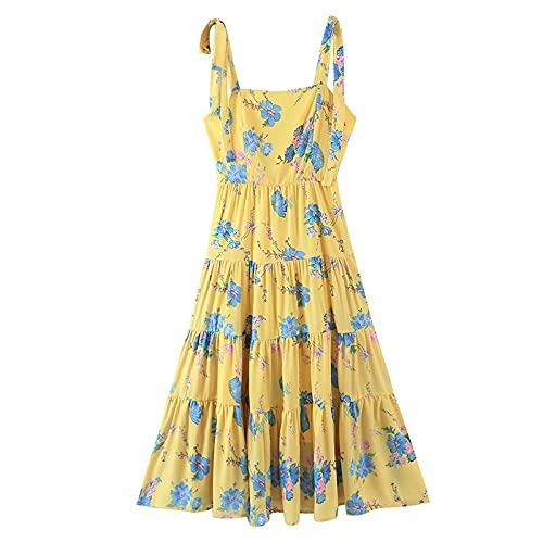 QUNLIANYI Vestido a Media Pierna con Tirantes y Estampado Floral Amarillo Vintage Vestido Retro de Verano con Tirantes y Corbata para Mujer M Amarillo