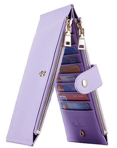 Travelambo Womens Walllet RFID Blocking Bifold Multi Card Case Wallet with Zipper Pocket Crosshatch (Purple Light 5200)