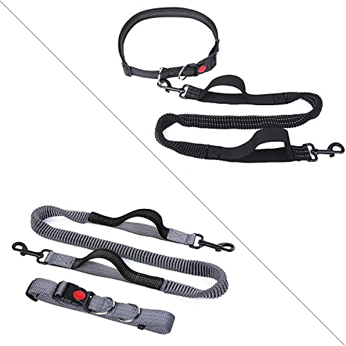 YIHATA Hands Free Dog Leash for Running Walking Jogging Training Hiking Retractable Bungee Dog Running Leash for Medium to Small Dogs (Black or Grey,Color Random)