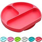 Plato de succión de silicona SiliKong para niños pequeños, se adapta a la mayoría de las bandejas de trona, sin BPA, platos divididos para bebés, cuencos de alimentación para niños rojo rosso