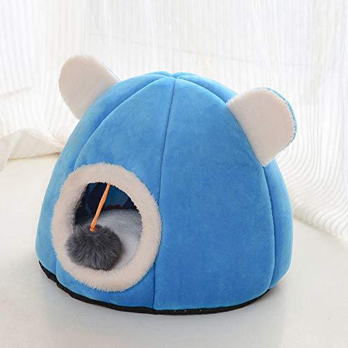 Cama para Mascotas, con una Alfombra Suave para Mascotas, Cama para Gatos Perros, Cama Suave de Felpa de tamaño Mediano -Azul llameante_Grande