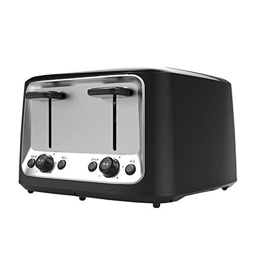 ZHHAOXINTS Tragbar Toaster 4 Scheiben, Ultra breiter Schlitz mit Auftaufunktion, Aufwärmfunktion, Herausziehbare Krümelschublade, Edelstahl Geeignet für die Küche, Black