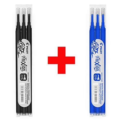 Pilot FRIXION - Recambios de punta de aguja de 0,5 mm, 2 paquetes – 6 recambios – tinta negra y azul