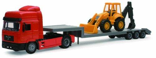New Ray - 15393 A - Véhicule Miniature - Modèles À L'échelle - Camion Man F2000 - Transport Tractopelle - Echelle 1/43
