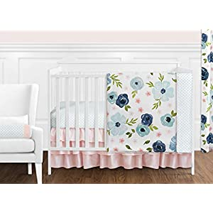 Sweet Jojo Designs Navy Blue and Pink Watercolor Floral Baby Girl Nursery Crib Bedding Set – 11 Pieces – Blush, Green and White Shabby Chic Rose Flower Polka Dot