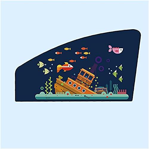 FANNISS Cortinas Coche Ventanas Laterales Parasol de Coche Universal patrón de Dibujos Animados Cubierta de Cortina de Parasol magnético Fuerte para Evitar la luz Solar Directa Cortinas de Coche Par
