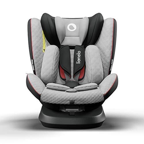 Lionelo Bastiaan One silla de coche bebe desde el nacimiento hasta los 36 kg giratoria a 360 grados Isofix Top Tether cinturón de seguridad de 5-puntos (Gris-Negro)