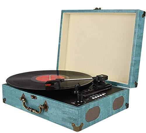 Tocadiscos Bluetooth con Estéreo Altavoces, Tocadiscos de Vinilo de Estilo Vintage, 33/45/78 RPM, Salida RCA/Auriculares / MP3 / Grabacion de Vinilo