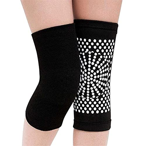Berrd 2PCS Rodilleras con Soporte de autocalentamiento, Las Rodilleras se utilizan para aliviar la Artritis y masajear Las piernas - Negro, L