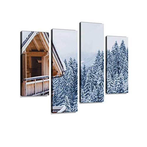 Wooden House in Winter Mountains Canvas Wall Art Hanging Paintings Modern Artwork Abstract Picture Prints Home Decoration Gift Unique Designed Framed 4 Panel