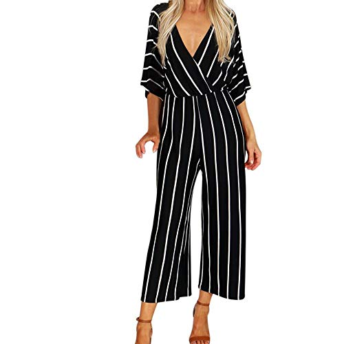 SPI Fashion Vrouwen V-hals Gestreepte Jumpsuit Drie kwart mouw Gestreept Losse Casual Jumpsuit Playsuit Palazzo Mujer Jumpsuit