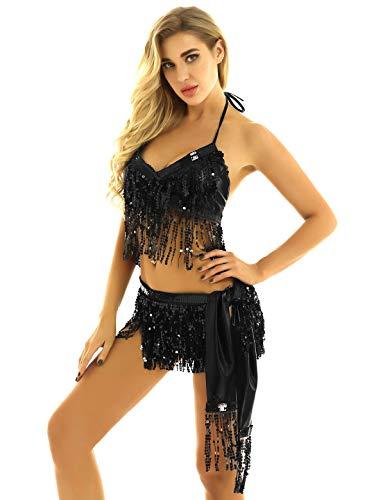YiZYiF Damen Bauchtanz Kostüm Set für Karneval Fasching Neckholder Pailletten Oberteil + Hüfttuch Quasten Wickelrock Indische Belly Dance Tanzkostüm Schwarz One Size