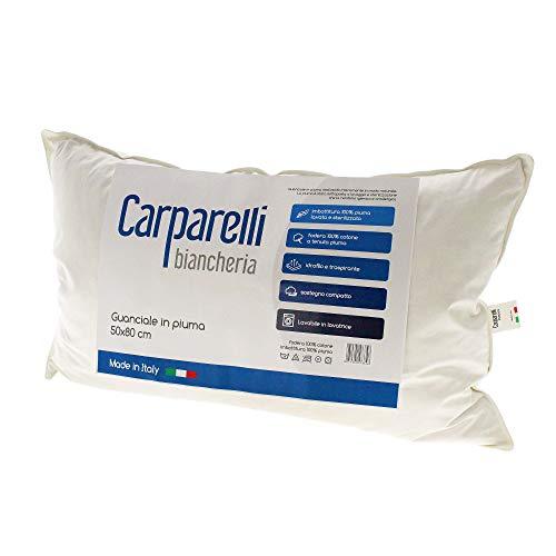 Carparelli Guanciale 100% Vera Piuma Cuscino Made in Italy Puro Cotone 50x80 cm