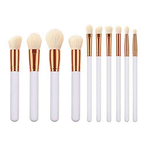 Gespout Pinceaux de Maquillage Kit de 10 pcs Couleur Unie Brosse de Maquillage Professionnel Fondation Concealer Eye Shadow Beauté Outils (Blanc)