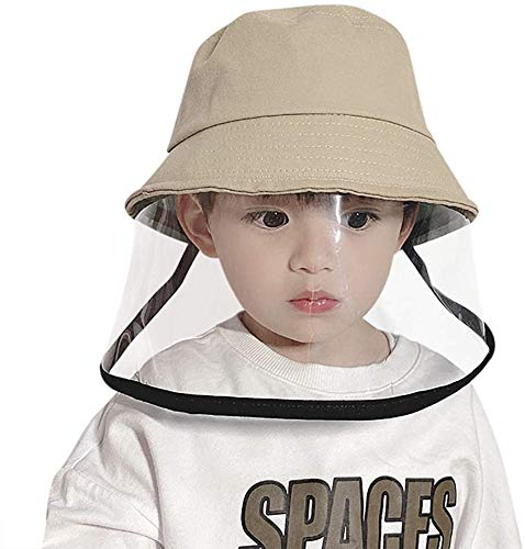 Qinju Kids Face Shield Cappello Anti-sputo Cappuccio Protettivo Anti-Saliva con Ampia Visiera Chiara, per Bambini 2-4 Anni (Beige)
