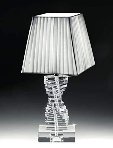 lampada da comodino di cristallo trasparente per camera da letto contemporanea paralume tessuto bianco