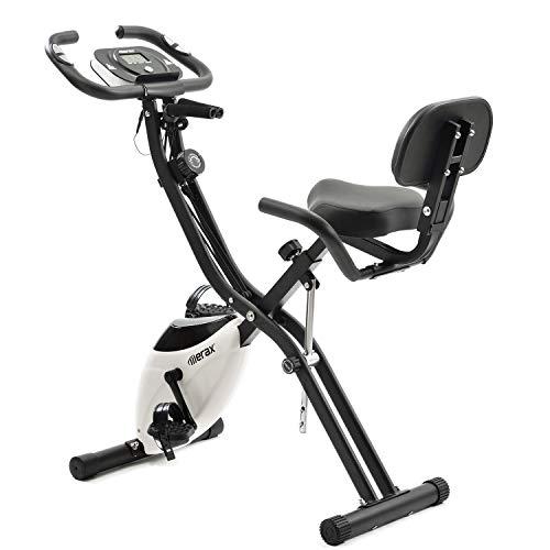 Merax X-Bike, Heimtrainer Klappbar, Magnetische Faltbares Fitnessfahrrad mit 10 Widerstandsstufen, Fitness Bike für Zuhause Büro Indoorcycling Bikes mit Expanderbänder, bis 150 kg (Weiß)
