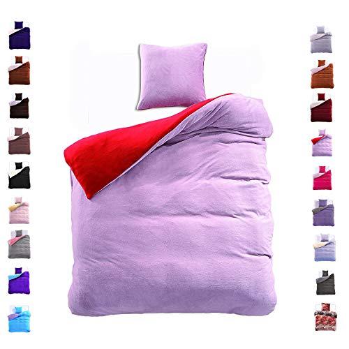 DecoKing 155x220 cm Bettwäsche mit 1 Kissenbezug 80x80 Mikrofaser Weich Warm Winter Kuschelig Bettbezug Bettwäschegarnitur Stahl rot grau Steel red Furry