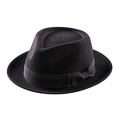 wscmd Sombrero para Hombres Mujeres Sombreros de Lana Gorro de Gangby Gatsby Cubano Manhattan Triturable