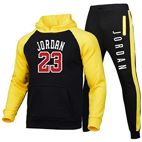 CLKI Jordan #23 - Sudadera de baloncesto con capucha para hombre, diseño de Jordania con forro polar y pantalones con capucha Tpps+ conjunto de 2 piezas, color amarillo y L