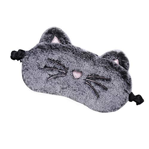 XYQ pluche schattige grijze kat oogmasker slaapmasker oogschaduw bril oogmasker oogmasker geschikt voor op reis thuis geschenken