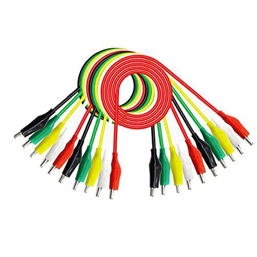 nJiaMe Cables de Prueba con Pinzas de cocodrilo cocodrilo 50cm P1025 Doble Extremo Puente de Alambre 10PCS Coloridas