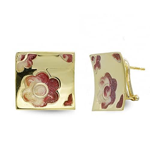 Pendientes oro 18k mujer cuadrados 17 mm. esmalte flor